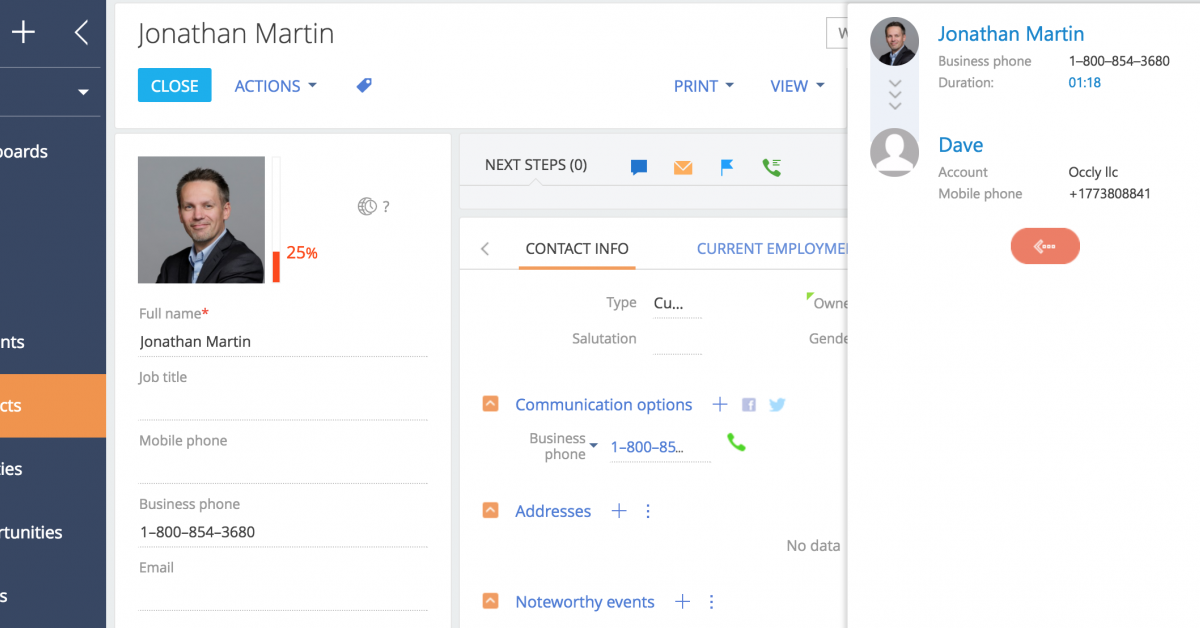 Creatio webitel call manager